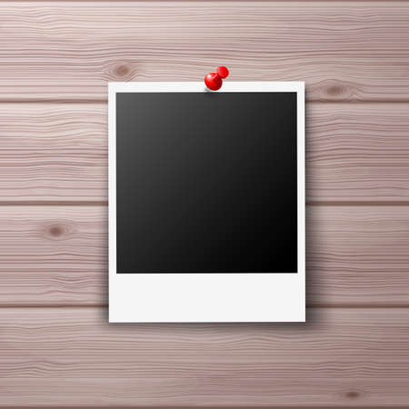 red pin: Photo Frame Pinned with Red Pin on Wooden Wall