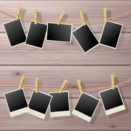 Photo Frame Fixed on a Clothespins. Illustration on Wooden Background