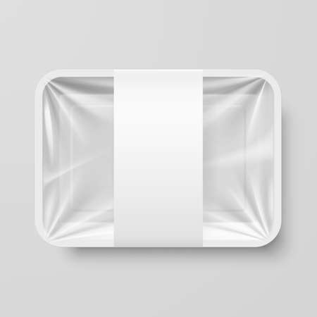 closeup: Empty White Plastic Food Container with Label on Gray Background
