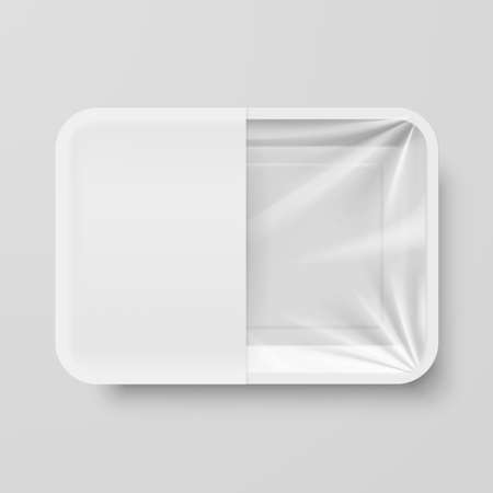 Empty White Plastic Food Container with White label on Gray Background Vectores
