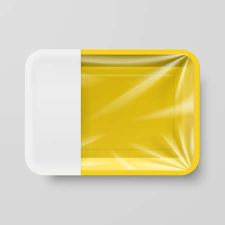 plastic box: Empty Yellow Plastic Food Container with Empty Label on Gray Illustration