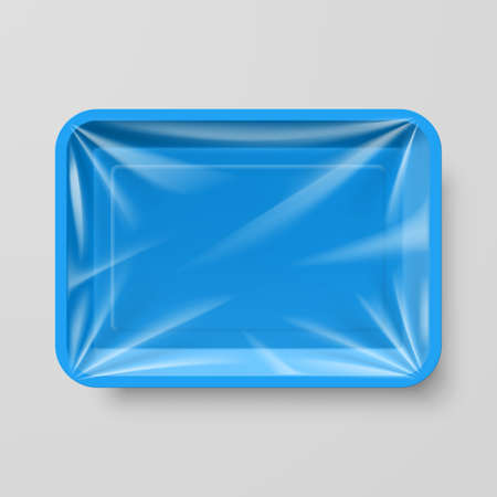 styrofoam: Empty Blue Plastic Food Container on Gray