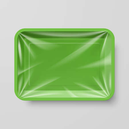 food tray: Empty Green Plastic Food Container on Gray