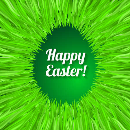 sunday: Happy Easter Greeting Card with Egg. Design in Green Grass Illustration