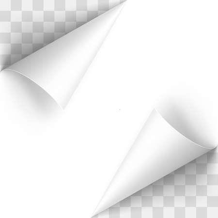 blatt: Gewelltes White Papers Ecken mit transparentem Hintergrund
