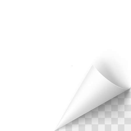 rolled: Curled White Paper Corner with Transparent Background Illustration