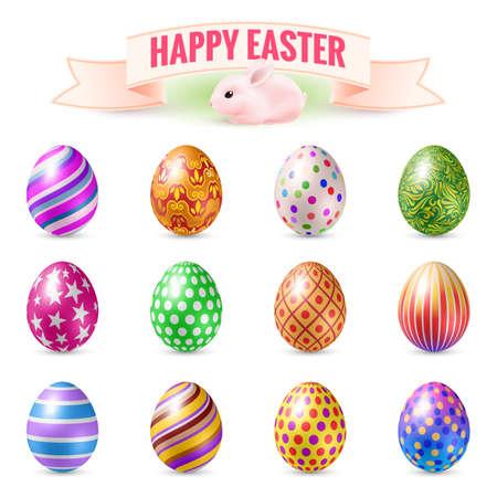 huevo caricatura: Conjunto de los huevos de Pascua de la vendimia para las fiestas de Pascua feliz Vectores