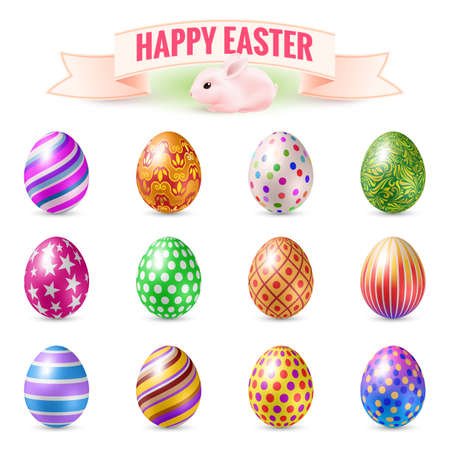 Zestaw Vintage Easter Eggs Holidays Happy Easter