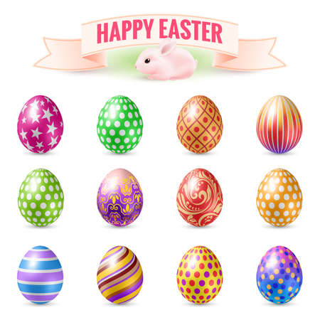 food background: Set of Vintage Easter Eggs. Design Templates Objects for Easter Holidays