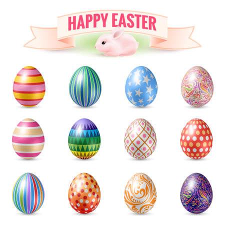Set of Vintage Easter Eggs. Illustration for Easter Holidays