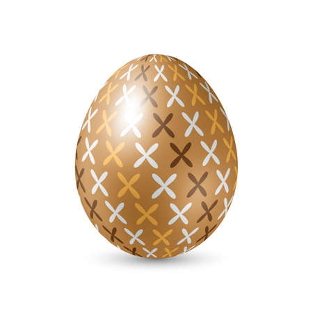 brown egg: Brown Egg with Abstract Pattern, Standing Vertically on White Background