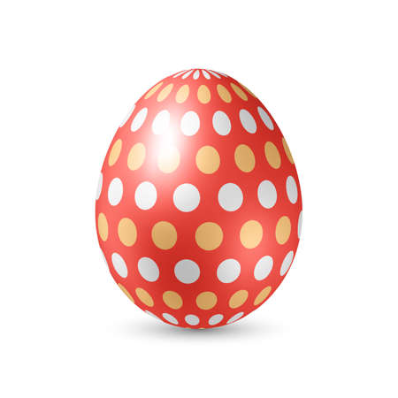 colored egg: Red Egg with Colored Dots - Standing Vertically on White
