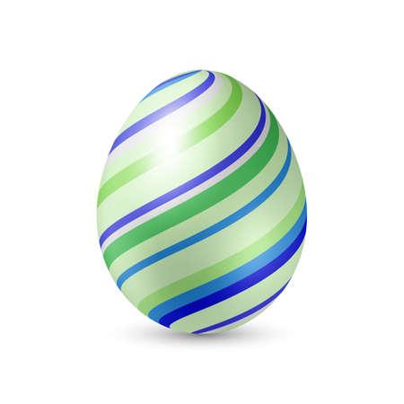 osterei: Osterei mit Streifen-Muster-Beschaffenheit - senkrecht stehend auf weiß mit Schatten Illustration
