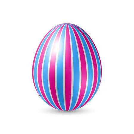 strip structure: Easter Egg with Vertically Strips Pattern. Illustration on White Background Illustration