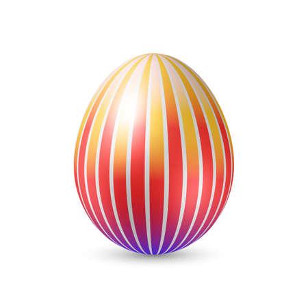 art logo: Easter Egg with Vertically Strips Texture. Illustration on White Illustration
