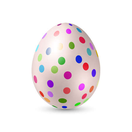 colored egg: White Easter Egg with Colored Dots - Standing Vertically with Shadow Illustration