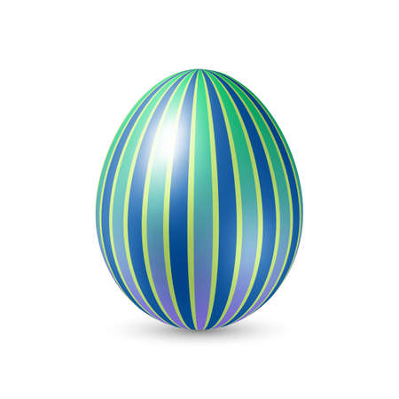 vertically: Easter Egg with Vertically Strips Texture. Illustration on White Background