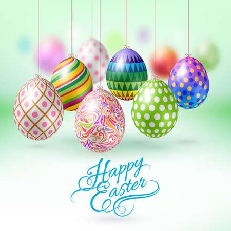 huevos de pascua: Tarjeta de felicitación feliz de Pascua con los huevos colgando de Pascua Vectores