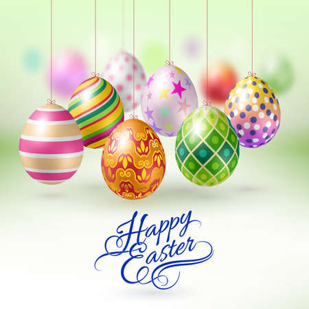 hanging string: Easter Eggs with Different Ornaments Hanging on a String Illustration