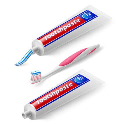 higiene: Isométrica cepillo y la pasta en el fondo blanco