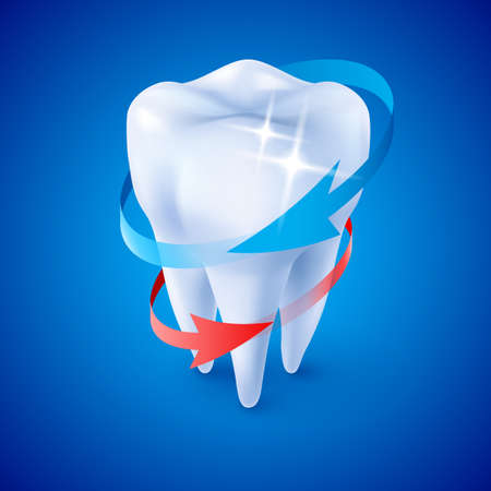fluoride: Isometric Illustration Herbal and Fluoride Protection Icon of a Tooth on Blue Illustration
