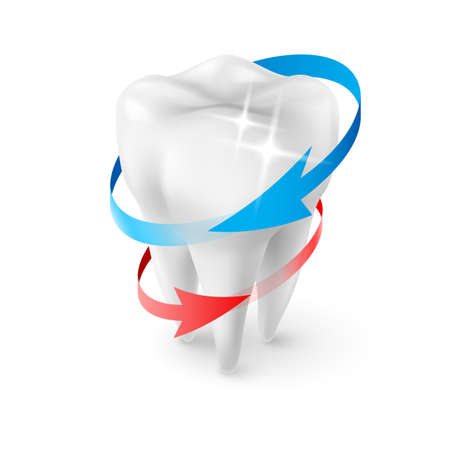 fluoride: Isometric Illustration Herbal and Fluoride Protection Icon of a Tooth