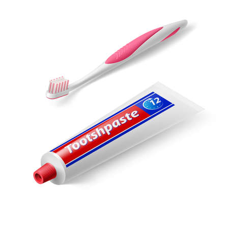 tooth: Isometric Dental Brush with Tooth Paste on White