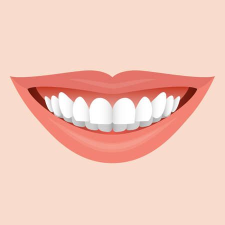 Smiling Mouth with White Teeth. Illustration for Creative Idea
