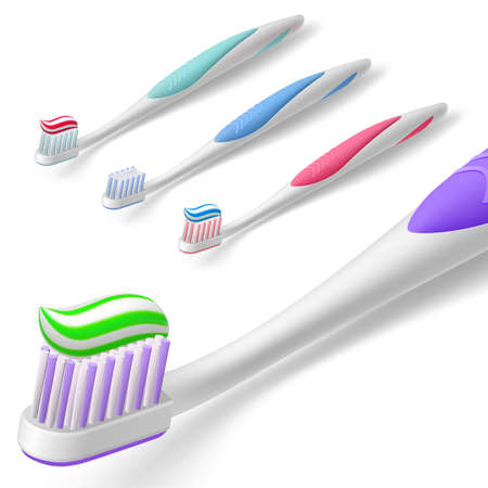 tooth paste: Isometric Toothbrush Design with Tooth Paste Over it