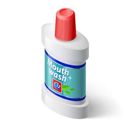 enjuague bucal: Botella isométrica de enjuague bucal. Ilustración en blanco