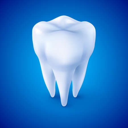 medicine logo: Tooth Icon, Dentist Symbol in Isometric Style on Blue