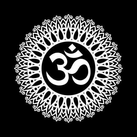 Simbolo Om, Aum Segno, con decorativo indiano ornamento Mandala su nero