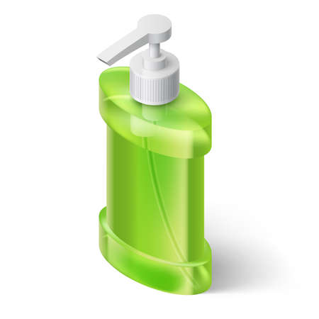 dispenser: Green Liquid Soap Dispenser in Isometric Style