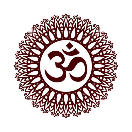 sanskrit: Om Symbol, Aum Sign, with Decorative Indian Ornament Mandala on White