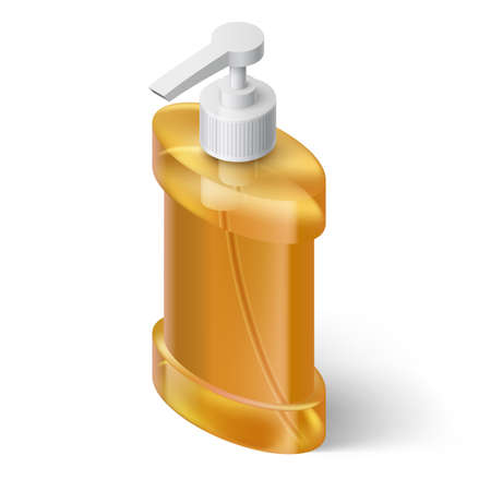 dispenser: Yellow Liquid Soap Dispenser in Isometric Style Illustration