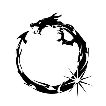 Ouroboros, Black Dragon Eating its Own Tail Vectores
