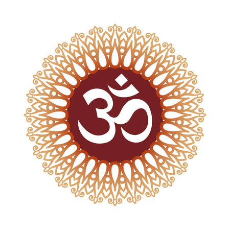 and symbol: Om Symbol, Aum Sign, with Decorative Indian Ornament Mandala