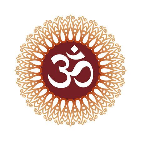 Om Symbool, Aum Teken, met decoratieve Indische Ornament Mandala