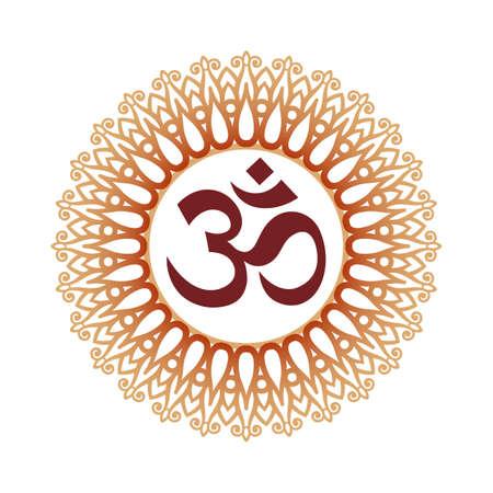 Om Symbol, Aum Sign, and Decorative Indian Ornament Mandala