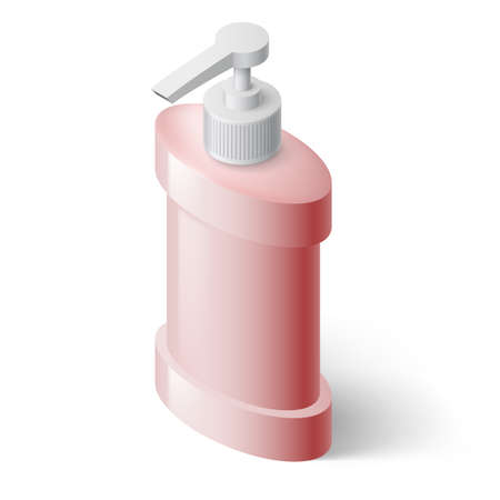 liquid soap: Pink Liquid Soap Dispenser in Isometric Style Illustration