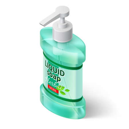 Aquamarin Color Bottle Liquid Soap with Label Herbal Isolated