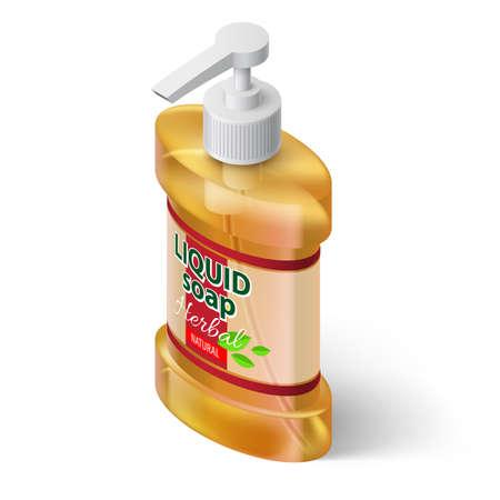 liquid soap: Orange Bottle Liquid Soap with Label Herbal Isolated Illustration