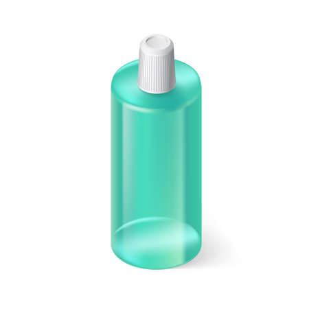Single Aquamarin Bottle of Shampoo on White