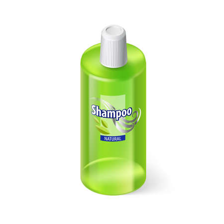 lable: Single Green Bottle of Shampoo with Lable on White Illustration
