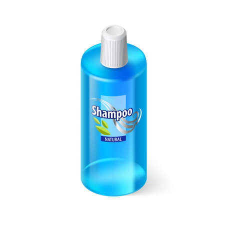 lable: Single Blue Bottle of Shampoo with Lable Illustration