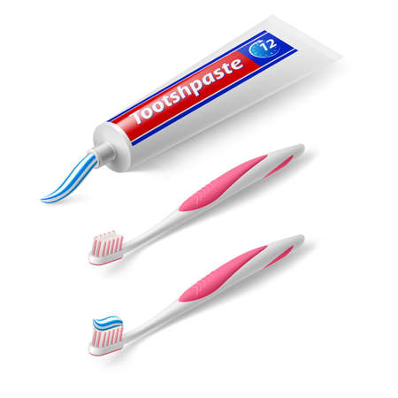 Toothbrush and Toothpaste in Isometric Style on White Background Vectores