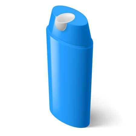 medical shower: Single Blue Isometric Bottle of Shampoo on White