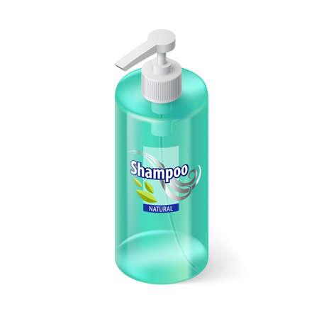 aquamarin: Single Aquamarin Bottle of Shampoo with Lable in Isometric Style Illustration