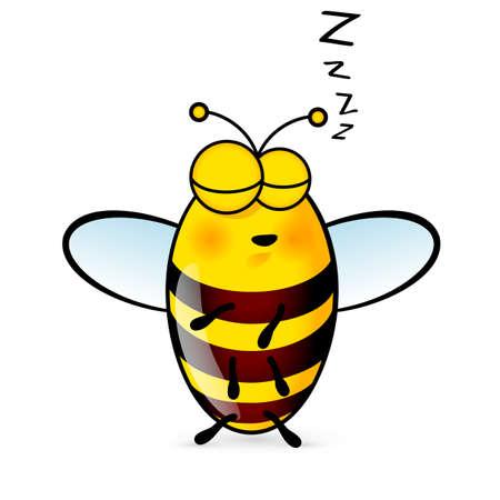 abeja: Ilustración de un amistoso abeja durmiente lindo