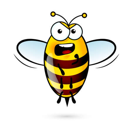 Illustration of a Loud Bee on White Background Çizim